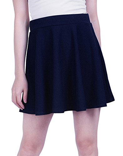 HDE Women's Jersey Knit Flare A Line Pleated Circle Skater Skirt (Midnight Blue, ()