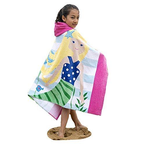 AteAte Cute Cartoon Baby Kids Hooded Bath Towel Toddler Boy Girls Beach Towel New 100% Cotton 400 GSM(Mermaid)