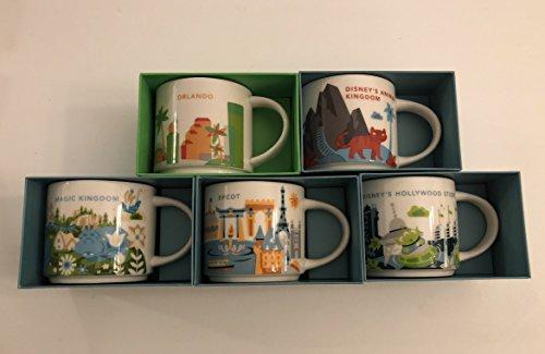 5 Mug Set: 2017 Animal Kingdom, Magic Kingdom, EPCOT, Disney's Hollywood Studios, Orlando Starbucks You Are Here 14 Oz. Mugs by Starbucks