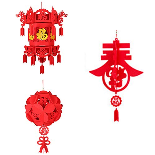 SHINNING 3 Pack Red Chinese Lanterns, Decorations for Chinese New Year, Chinese Spring Festival, Wedding, Lantern Festival Celebration Décor, -