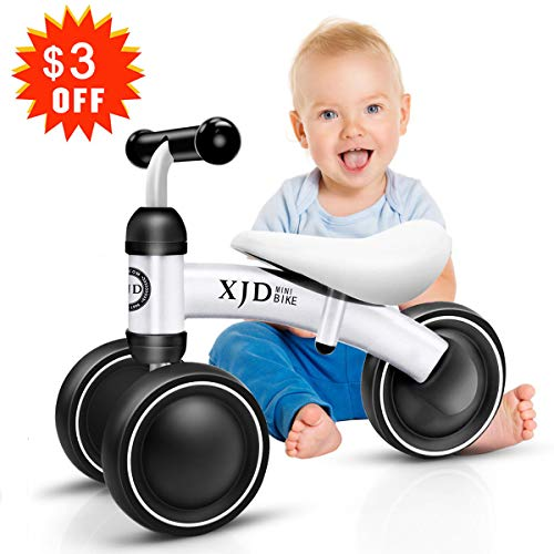 XJD Mini Trike Mini Bike For Toddlers, Kids Learn To Walk For 1-3 Years Old Kids No- Pedal 3 wheels Mini Balance Bike (White)