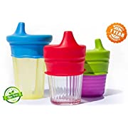 O-Sip! Silicone Sippy Lids (Pack of 3), Converts any Cup or Glass to a Sippy Cup, Makes Drinks Spillproof, Reusable, Durable (Red,Green,Blue)