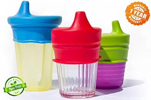 O-Sip! Silicone Sippy Lids (Pack of 3), Converts any Cup or Glass to a Sippy Cup, Makes Drinks Spillproof, Reusable, Durable (Red,Green,Blue) - Any Glass