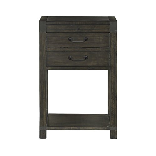 2-Drawer Open Nightstand in Weathered Charcoal Finish