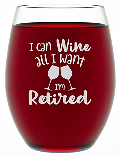 Retirement Gifts for Women - I CAN WINE ALL I WANT 15 oz Individually Boxed Unique and Funny Stemless Wine Glass Gift for Retirement Parties - Retirement Gifts by Funny Bone Products (ICANWINE)]()
