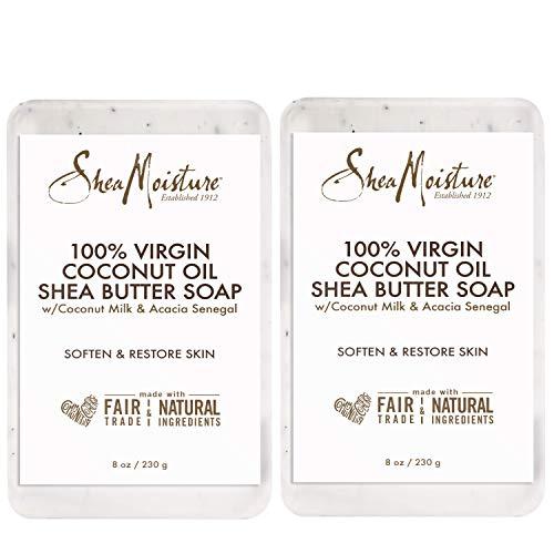 Shea Moisture 100% Virgin Coconut Oil Shea Butter Soap, 8 Ounce (Pack of 2) (Best Shea Butter Soap)