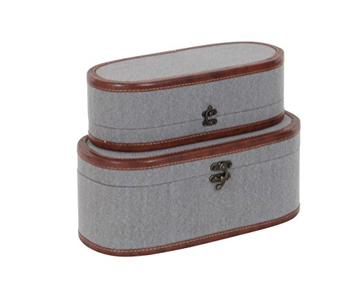 (Deco 79 54067 Gray Fabric Covered Wooden Oval Boxes (Set of 2), 14
