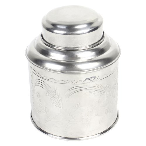 Water & Wood Floral Bird Pattern Stainless Steel Tea Tin Canister Silver Tone 3.9