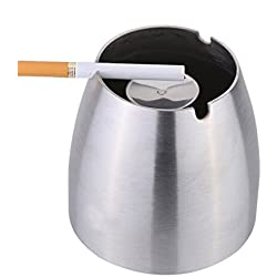 WOFO Modern Ashtray Unbreakable , Stainless Steel Cigarette Ashtray for Indoor Home Office