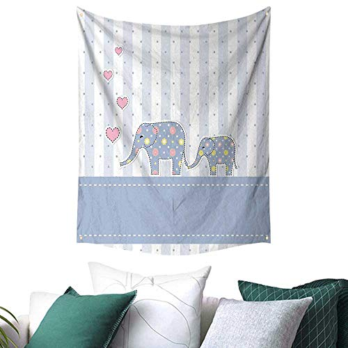 Anshesix Elephant Nursery Decor Home Decor Tapestry Baby Shower Theme Cheerful Newborn Celebration Pastel Toned Striped a 54W x 84L INCH Multicolor]()