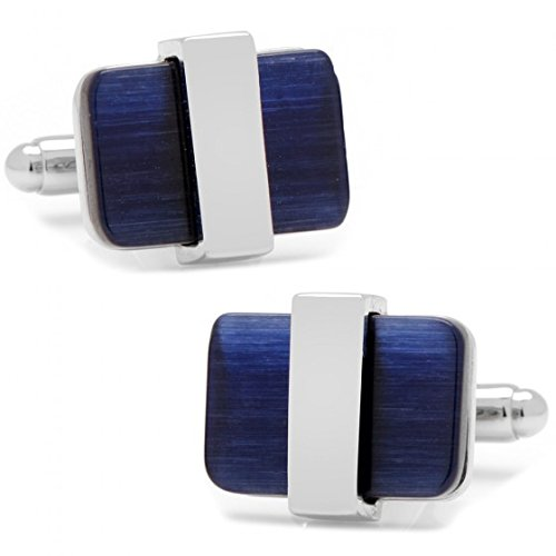 Ox and Bull Mens Plated Silver-Tone Wrapped Navy Blue Catseye Cufflinks (Blue)