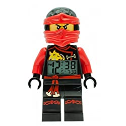 Lego Ninjago Sky Pirates Kai Kids Minifigure Light up Alarm Clock | red/Black | Plastic | 9.5 inches Tall | LCD Display | boy Girl | Official