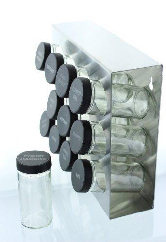 Amazon.com: M-912 de acero inoxidable estante de especia, 12-Botella: Beauty