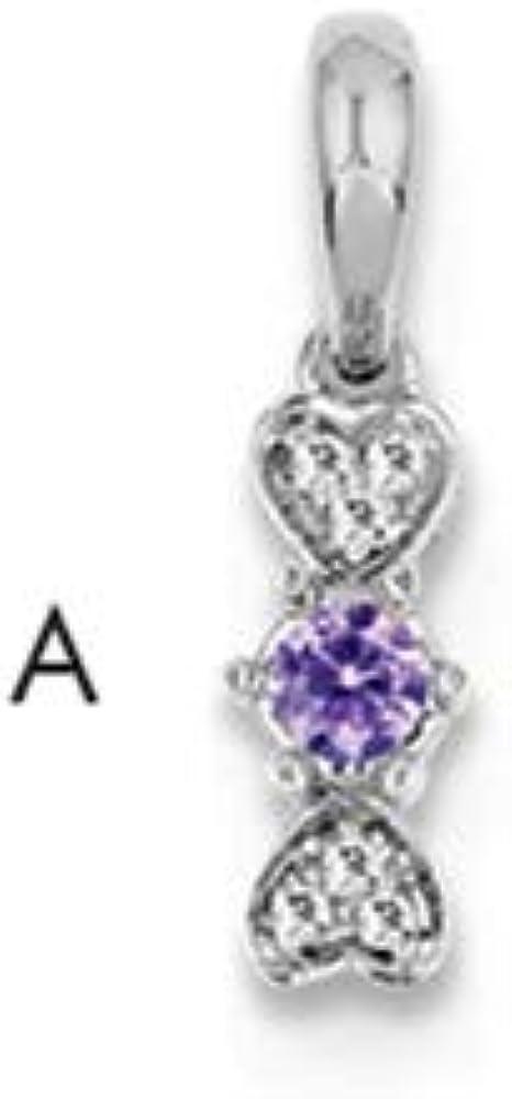 14K White Gold Family Jewelry Diamond Semi-Set Pendant Length 18 Width 5