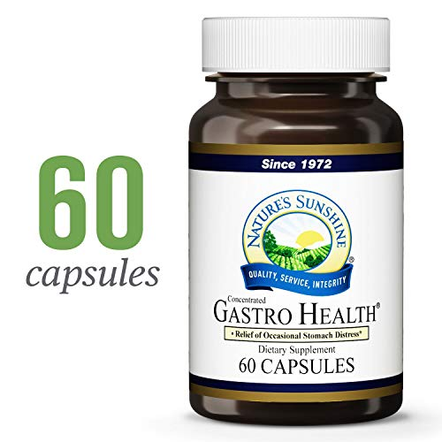 Nature's Sunshine Gastro Health Concentrate, 60 Capsules   Powerful Natural Blend Delivers 800mg of Unique Herbs Shown to Provide Occasional Indigestion and Heartburn Relief