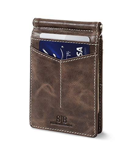 - Travel Wallet RFID Blocking Bifold Slim Genuine Leather Thin Minimalist Front Pocket Wallets for Men Money Clip - Made from Full Grain Leather (Morning Roast Rogue)