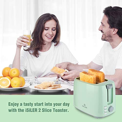 iSiLER 2 Slice Toaster, 1.3 Inches Wide Slot Toaster with 7 Shade Settings and Double Side Baking, Compact Bread Toaster with Removable Crumb Tray,Defrost Reheat Cancel Function Green