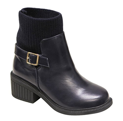 Bella Marie Atlanta-11 Womens round toe buckled strap mid calf sweater lining comfort PU boots Navy FdOSqoZj