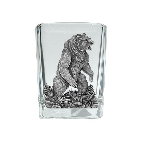 Grizzly Bear Square Shot - Set of 2 (Bear Grizzly Pewter)