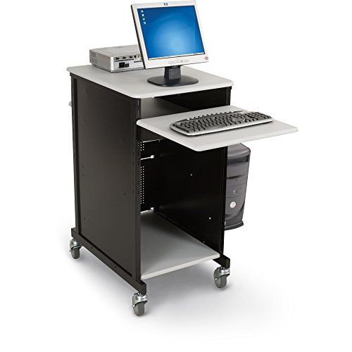 (Balt Presentation Cart with CPU Holder, 18-Inch by 20-Inch by 47-1/2-Inch, Gray/Black)