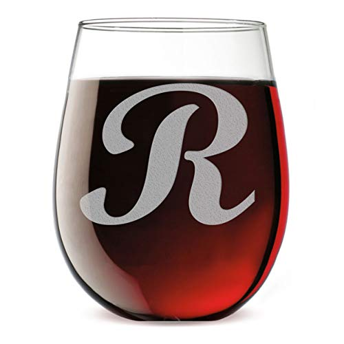 - Etched Monogram 17oz Stemless Wine Glass (Letter R)