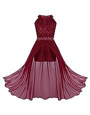 iiniim Kids Big Girls High-Neck Maxi Romper Dress Junior Bridesmaid Wedding Flower Dress Pageant Party Evening Ball Gown