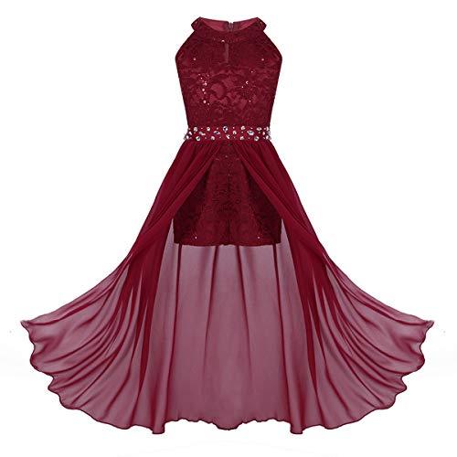 ranrann Kids Girls Sleeveless Floral Lace Shiny Rhinestone Maxi Dress Birthday Party Formal Dance Romper Gown Burgundy 11-12