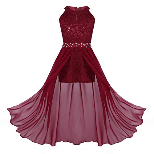 ranrann Kids Girls Sleeveless Floral Lace Shiny Rhinestone Maxi Dress Birthday Party Formal Dance Romper Gown Burgundy 7-8