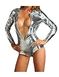 Bestgift Women's Faux Leather Solid Color Zip-Up Long Sleeves Bodysuit
