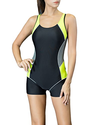 Spring Fever Women Slimming One Piece Boyleg Swimsuit Raceback Athletic Swimwear Black Yellow Large (US 10) Complete Body Unitard