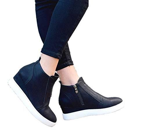 4 Zapatillas Beige Invierno 5cm de de 43 Mujer Deportivas Casual Ankle Negro Piel Cu 34 a Boots Plataforma Azul Medio Botines Rosa Sneakers Tacon Ancho wXOxqa7Ha