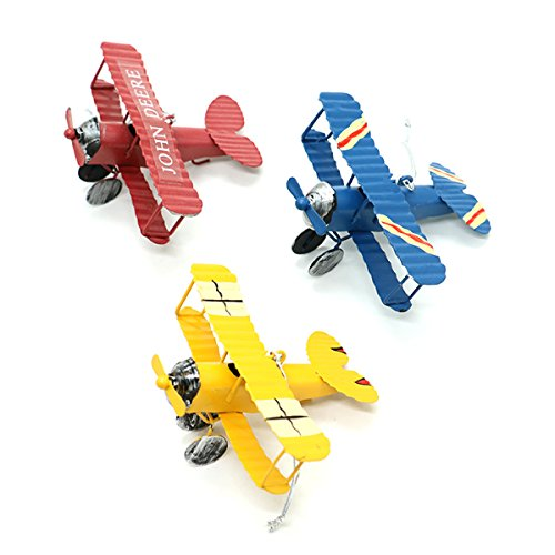 HUELE Wrought Iron Aircraft Biplane,Vintage Airplane Model Metal Handicraft, for Photo Props/Christmas/Home Decor/Ornament (3 PCS) ()