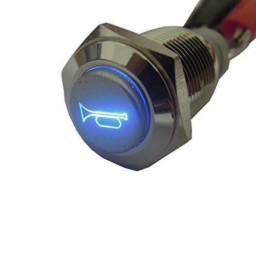E Support 12V Car Blue LED Momentary Speaker Push Button Metal Switch (Blue Metal Car)