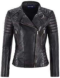 Motorcycle Women Black Lambskin Leather Jacket Classic Biker Style Waxed (Medium)