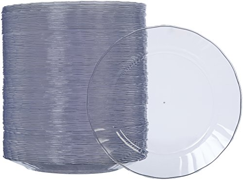 AmazonBasics Disposable Clear Plastic Plates, 100-Pack, 7.5-inch (4 Solid Rim Dinner Plates)