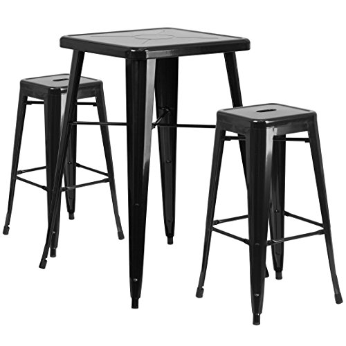MFO 23.75'' Square Black Metal Indoor-Outdoor Bar Table Set with 2 Square Seat Backless Barstools