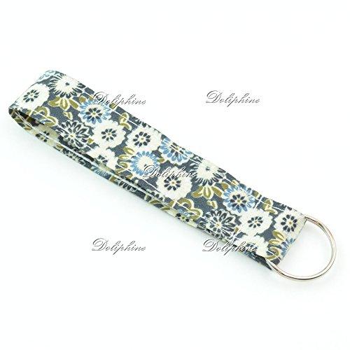 Floral Print Wristlet Fabric Lanyard Key Chain for Key fob, ID Badge Holder. Key, Purse, USB (Black)