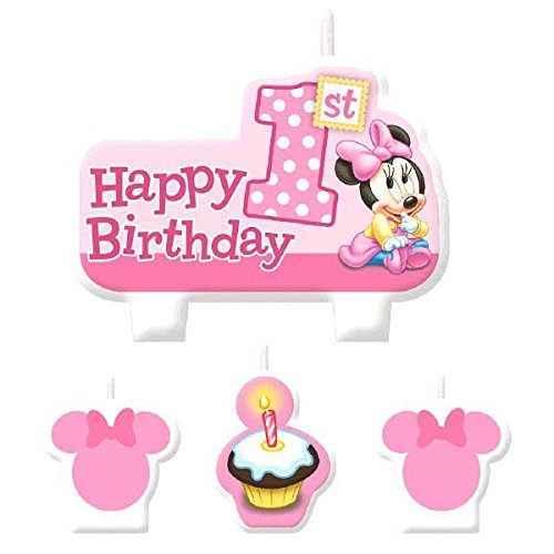 American Greetings Minnie Mouse 1st Birthday Candles (4
