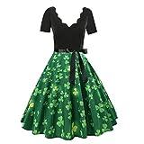 Libermall Women's Dresses Short Sleeve Vintage Print Evening Party Cocktail Swing Dress Beach Sundress