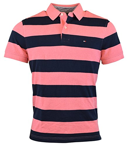 Tommy Hilfiger Mens Regular Fit Striped Cotton Polo Shirt...