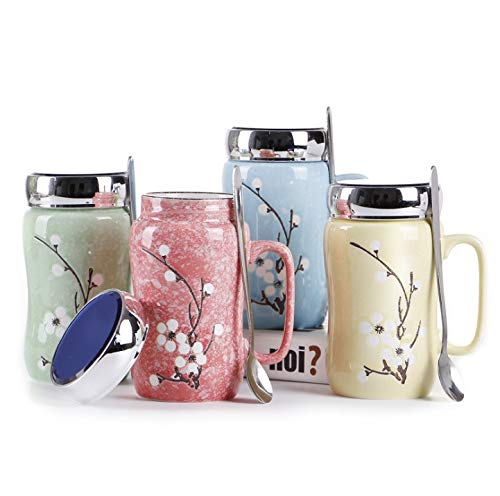 Zxwzzz Bottles Ceramic Snowflake Glaze Cup Creative Gift Cherry Blossom Mug High-Grade Mirror with Lid, Yellow, Blue, Pink, Green, Height 14cm X Caliber 8cm (Color : -
