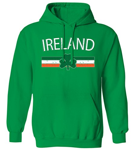 Ireland Distressed Flag Stripe Banner -Irish Shamrock Mens Hoodie Sweatshirt (Kelly, Large)