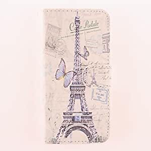 fashion case The Eiffel Tower and the Butterfly Pattern PU Full Body Case with Card Slot for iPhone 5s