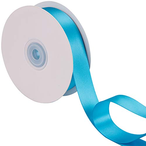 LaRibbons 1 inch Wide Double Face Satin Ribbon - 25 Yard (340-Turquoise) (Sided Double Lavender Satin Ribbon)