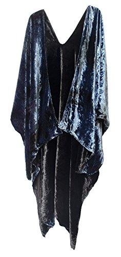 Steel Paisley Reversible Velvet Ruana Jacket Cape Robe Wrap Shawl Blue Black ()