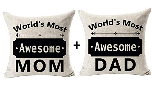 Andreannie Set of 2 Best Gift for Mother Father World's Most Awesome Mom Dad Sweet Blessing Cotton Linen Throw Pillow Case Cushion Cover Home Office Decorative Square 18 X 18 Inches