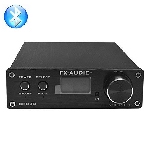 Dilvpoetry FX Audio D802C DAC 80WPC 2 Channel Pure Digital Amplifier Wireless Bluetooth USB/AUX/Optical/Coaxial Power Amplifier (Black)