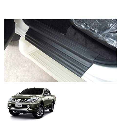 Powerwarauto Guards Sill Scuff Plate Door Trim for Mitsubishi L200 Triton Medium Matte Black