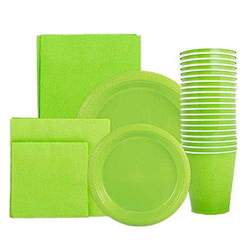 JAM Paper Party Supply Assortment Pack - Lime Green - Plates (2 Sizes), Napkins (2 Sizes), Cups (1 pack) & Tablecloth (1 pack) - 6/pack