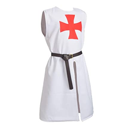 BLESSUME Hospitalario Caballero Sayo Medieval Sobretodo con Cinturón (Blanco 1)